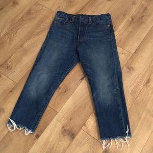 Levi white oak denim frayed jeans